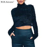 M H Artemis Winter Mohair Plush High Neck Thick Crop Top Sweater Sexy Woman 2016 5color