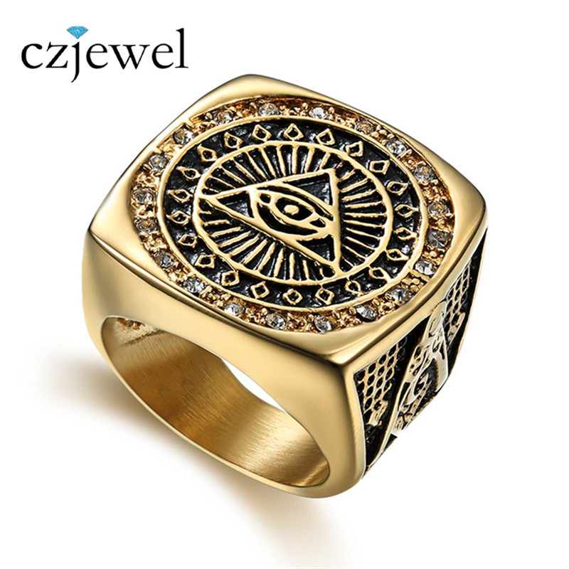 Vintage Stainless Steel Ring Mens Cubic Zirconia Masonic Rings For Men Freemasonry Punk Cool Gift Titanium Symbols Jewelry