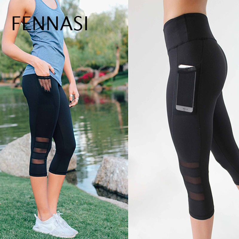 63ef6e1889489 FENNASI Women's Pants Fitness Black Leggings vs Side Pocket Mesh Shape  Pants Workout 3/4 Length Trousers High Waist Leggings