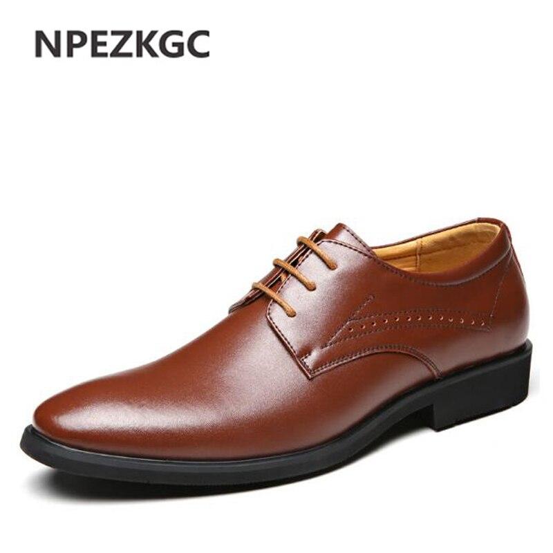 цена на NPEZKGC New Oxford Fashion shoes Men Genuine Leather Dress Shoes Spring Autumn Men Casual Flat Breathable shoes Wedding shoes