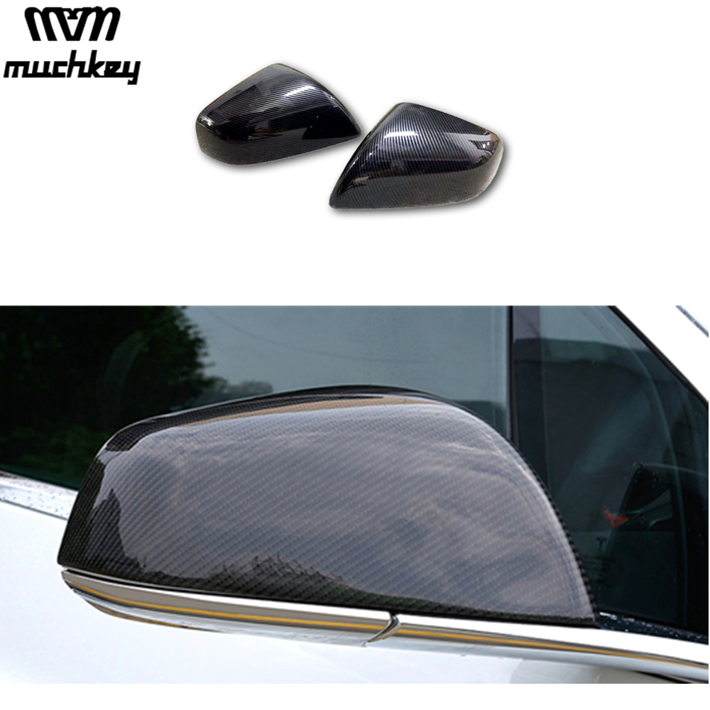 Auto Part Styling For Tesla Model X Car Side Wing Mirror Cover Rear Mirror Cover Trim Carbon Fiber 2Pcs Car Exterior Accessories for renault captur 2013 2014 2015 abs carbon fiber vein side door mirror wing mirror cover cap sticker car styling accessories