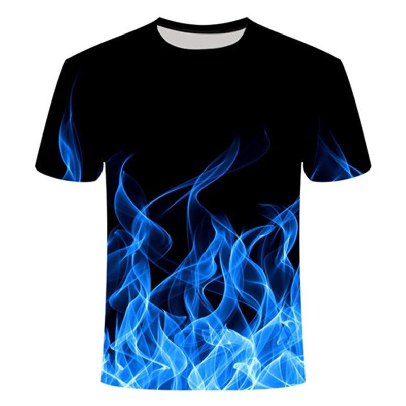 Starry Sky Blue Flaming Tshirt Men T Shirt 3d T-shirt Black Tee Casual Top Anime Leisure Streatwear Short Sleeve Cloth Drop Ship