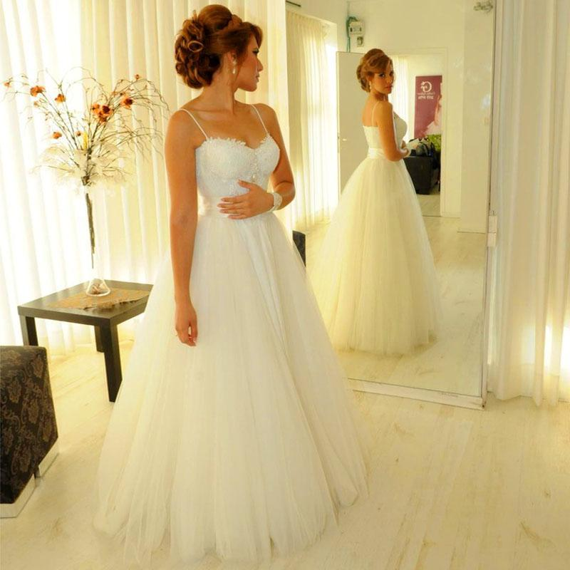 Wedding Ball Gowns With Straps: Latest Design Sexy Wedding Dress 2016 Spaghetti Straps