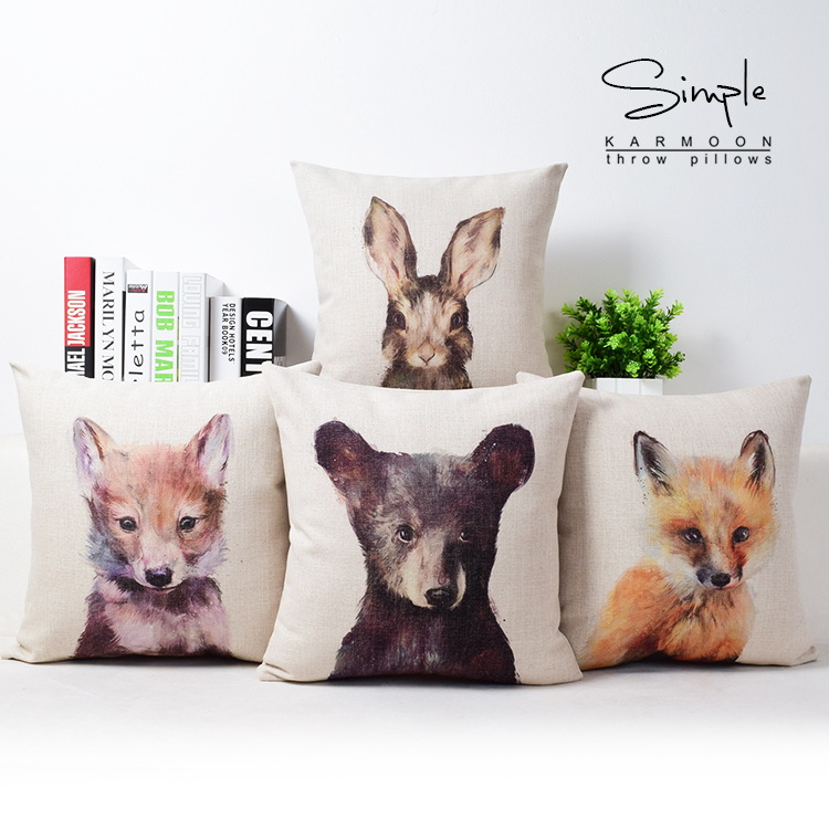 Cute Fawn Rabbit Fox Wolf Bear Cushion Cover Baby Animal Throw Pillow Case Decorative Pillows Covers Home Decor Pet Gifts 18