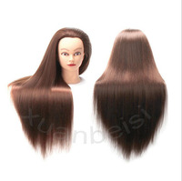 24 Brown Hair Training Head For Hairstyles Bride Realistic Hairdressing Head With Long Hair Mannequins For