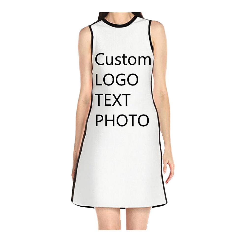 3d9aa4b437e19 Custom Summer Women s Sleeveless A Line Tank Mini Dress Print LOGO TEXT  PHOTO