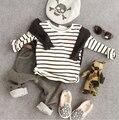 2-7Y осень зима мальчики полоска толстый флис футболки мальчики осень одежда дети свитер