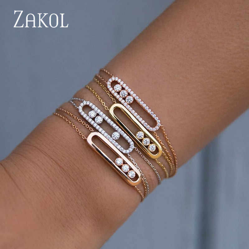 ZAKOL Fashion Luxury Mother bracelet Clear White Round Move Stone Wedding bracelet New Energy bracelet For Woman FSBP2013