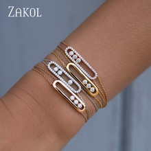 ZAKOL Fashion Luxury Mother bracelet Clear White Round Move Stone Wedding New Energy For Woman FSBP2013