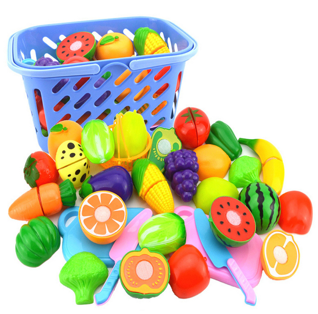 23Pcs/Set Plastic Fruit Vegetables Cutting Toy