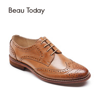 BeauToday Genuine Sheepskin Brogue Shoes Women New Fashion Lady Lace Up Round Toe Waxing Leather Derbies