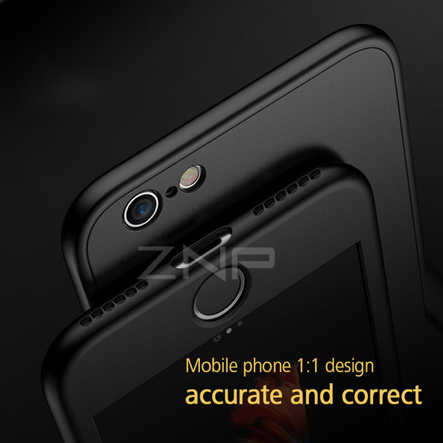 ZNP Luxury Soft TPU 360 Full Cover Cases For iPhone 8 7 6S 6 case 5 5S SE Cover Cases For iPhone 6 7 8 Plus case with glass 4