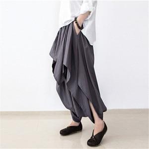 Image 2 - Johnature 2019 nowych kobiet szerokie nogawki luźna, z lenu bawełniane asymetryczne spodnie oryginalny projektant Plus rozmiar Capris elastan spódniczka z wysokim stanem
