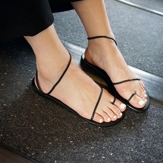 e7c7fcc9563c Size 40 New 2017 Ladies Gladiator Sandals Lace Up Women Beach Shoes Flat  Heel Designer Flip