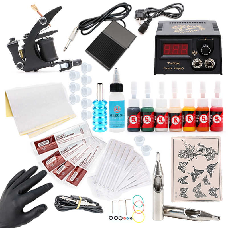 Nieuwe Collectie Tattoo Kit Tattoo Overdracht Olie Tattoo Coil Machine Gun Praktijk Huid 8 Inkt 5 ML Met Voeding tattoo Kit TM206