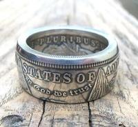Morgan Silver Dollar Coin Ring 'eagle' Silver Plated Handmade In Sizes 8 16|Non-currency Coins| |  -