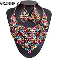 African Crystal Wedding Bridal jewelry sets for Women accessories Dubi Gold Necklace and Earrings Sets indian jewellery Gifts