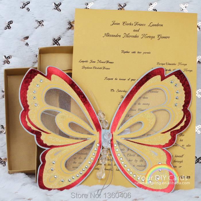 Laser cutting Scroll Wedding invitation card 3d Butterfly Theme ...