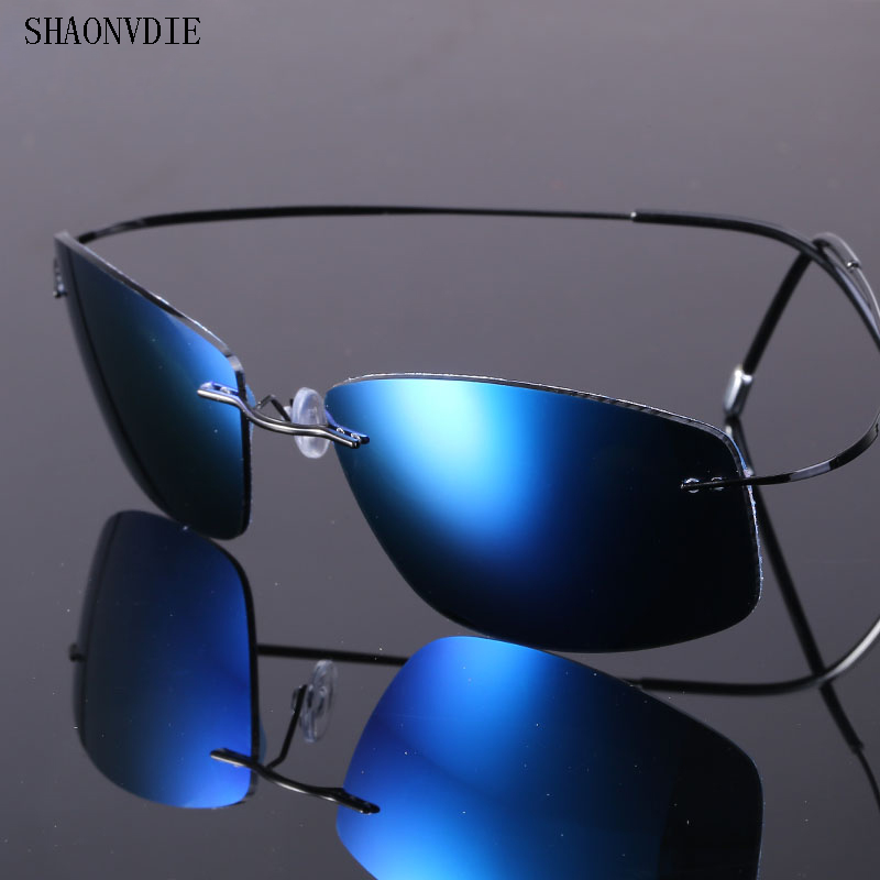 f6016a71fb 96% Titanium Silhouette sunglasses Polaroid super Light Brand Designer  Rimless Polaroid Gafas Men Polarized Sun glasses eyewear