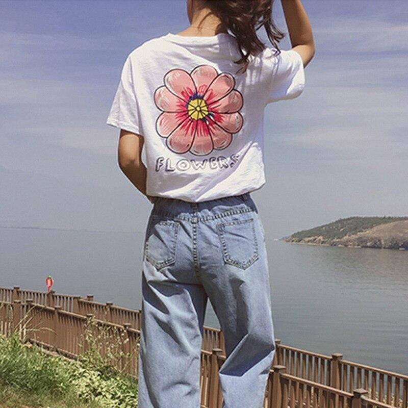 Sexy Flowers Print Short Sleeve Tops Tees Fashion Casual T Shirt Harajuku Women Tshirt