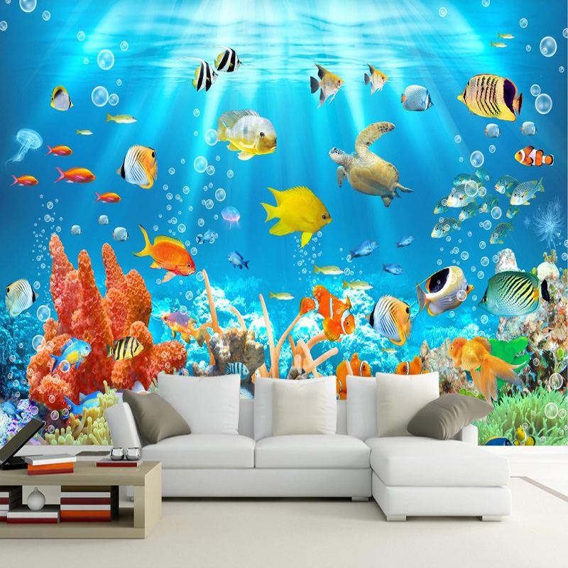 3d kids wallpaper mural underwater world fish and coral photo wall paper children 39 s room. Black Bedroom Furniture Sets. Home Design Ideas