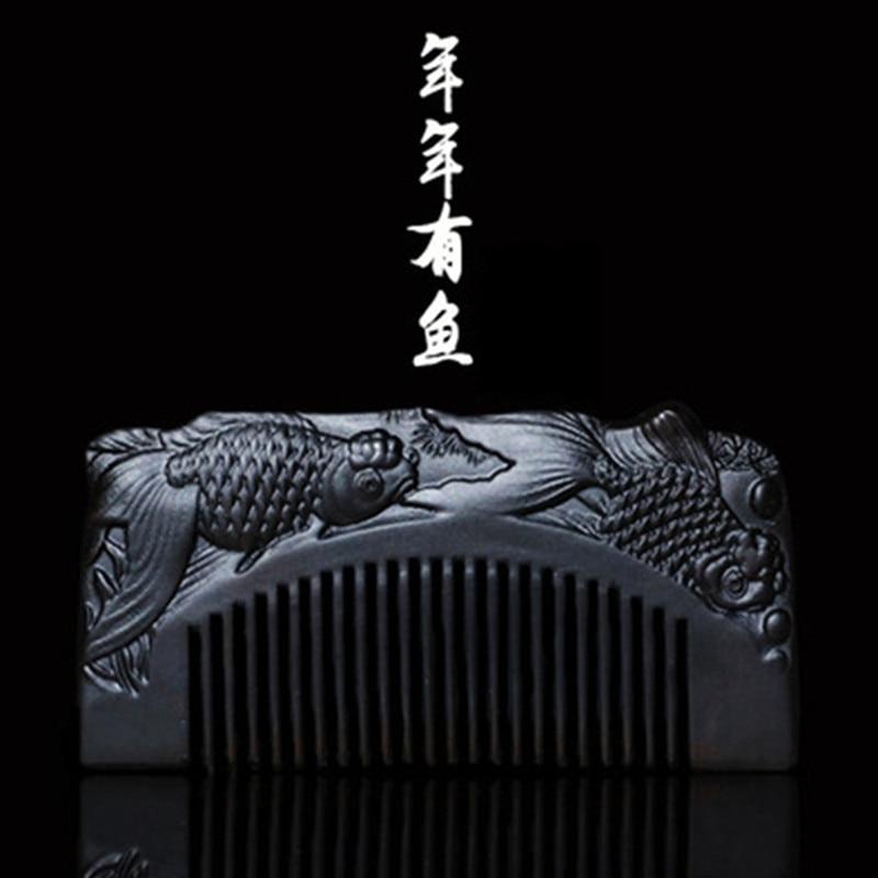 все цены на Professional Health Care Comb Anti-static Massage Black Sandalwood Comb Handmade Fish Hair Brush Wedding/ Birthday Gift