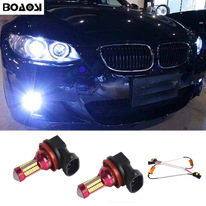 BOAOSI 2x H8 H11 LED Fog Light Driving Bulbs No Error for BMW E63 E64 E90 E91 E92 E93 328i 328xi X5 E53 E70 E46 325i 330i X3 E83 2x led h11 h8 h9 h11 no error decoder 80w with cree chip car bulb light fog lamps drl headlights for bmw 3 e90 e92 x5 2002 2010