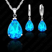 JEXXI Elegant Water Drop Woman Party Wedding Jewelry 925 Sterling Silver Cubic Zircon Fashion Earring Necklace Set 9 Colors