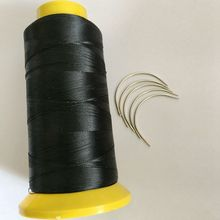 24 pieces C curved needles with 1 roll High Quality Black Polyester thread sewing thread hair weaving thread shrink packaging
