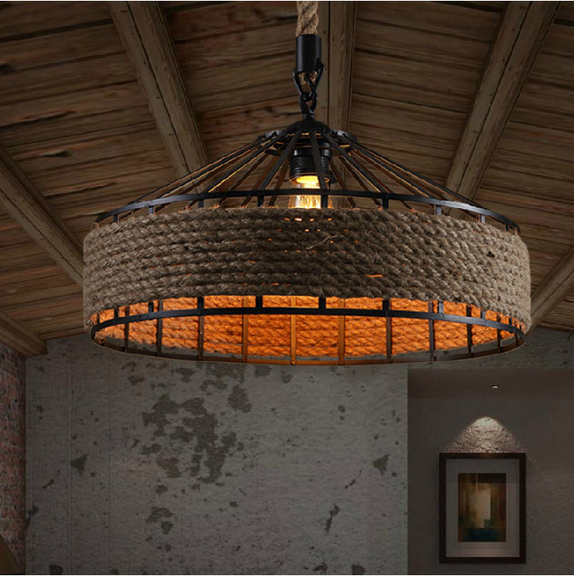 rope lampe hanglamp retro pendant light industrial. Black Bedroom Furniture Sets. Home Design Ideas