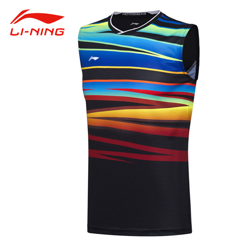 Li-Ning Men Summer AT DRY Badminton Vest O-Neck Sleeveless Breathable Shirts LiNing Professional Competition Sports Tops AVSM101