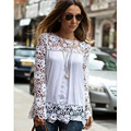 Hollow Out Women Blouses Female Long-sleeved Flower Chiffon Shirt Plus Size 5XL White Lace Blouse Shirts