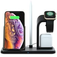 Cep telefonları ve Telekomünikasyon Ürünleri'ten Cep Telefonu Şarj Cihazları'de 3 in 1 Hızlı kablosuz şarj airpods cep telefonu saat kulaklık kulaklık şarj Tutucu iPhone iwatch Samsung huawei