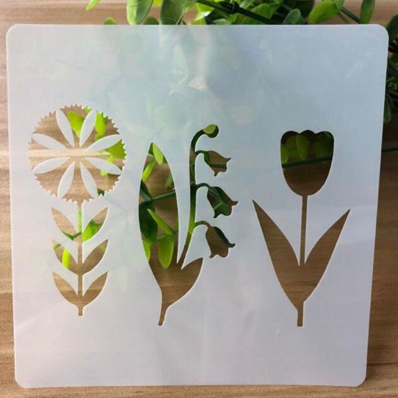 Купить с кэшбэком Bullet Journal Accessories Cake Stencil Flower Openwork Painting Template Embossing Craft Sjablonen For Scrapbooking Reusable