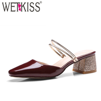 WETKISS Big Size 33 43 Female Footwear Women Sandals Summer 2017 Brand Mules Shoes Woman 2