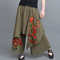 Vintage 70s Ethnic Wide Leg Pants Women Embroidery 2018 New Autumn Spring Summer Chinese Green Black Trousers Boho Harem Pants