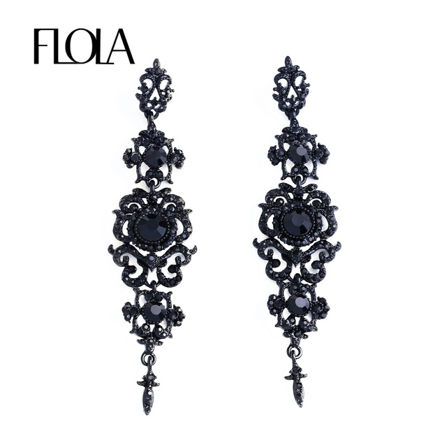 Flola Vintage Black Earrings With Stones Long Chandelier Drop Gothic Fashion Jewelry For Women