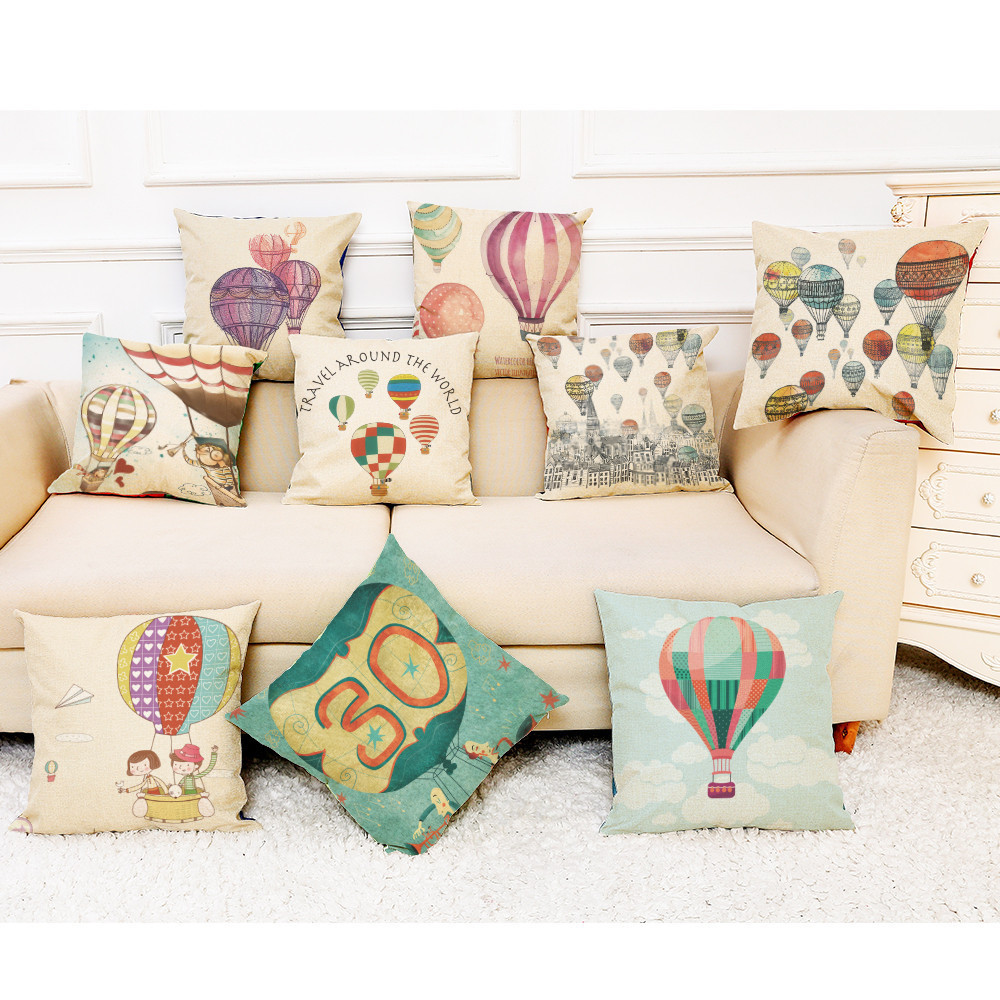 Home Decor Cushion Cover Hot Air Balloon Throw Pillowcase