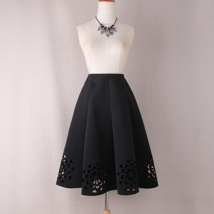 Elegant Vintage Floral Crochet High Waist A-Line Zipper Midi Skirt 4