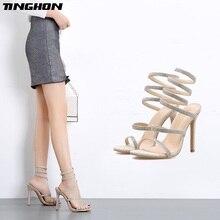 купить TINGHON Summer Rhinestone Sandals Womens Shoes Slip On Stilettos High Heels Party Shoes Sandalie Ladies Pumps Size 35-40 по цене 1465.11 рублей
