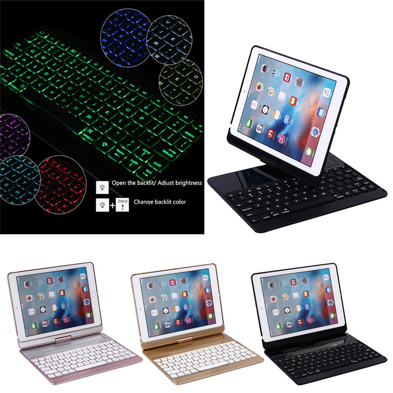 Aluminum Backlit wireless Bluetooth Keyboard with Smart Rotate Folio Case tablet protective case For iPad/Pro9.7/Air/Air2 A30 все цены