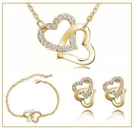 dubbel hjärta tjeckiska AAAA + rhinestones mode halsband örhängen smycken set gratis droppe frakt bröllop älskare charms kvinnor gåvor