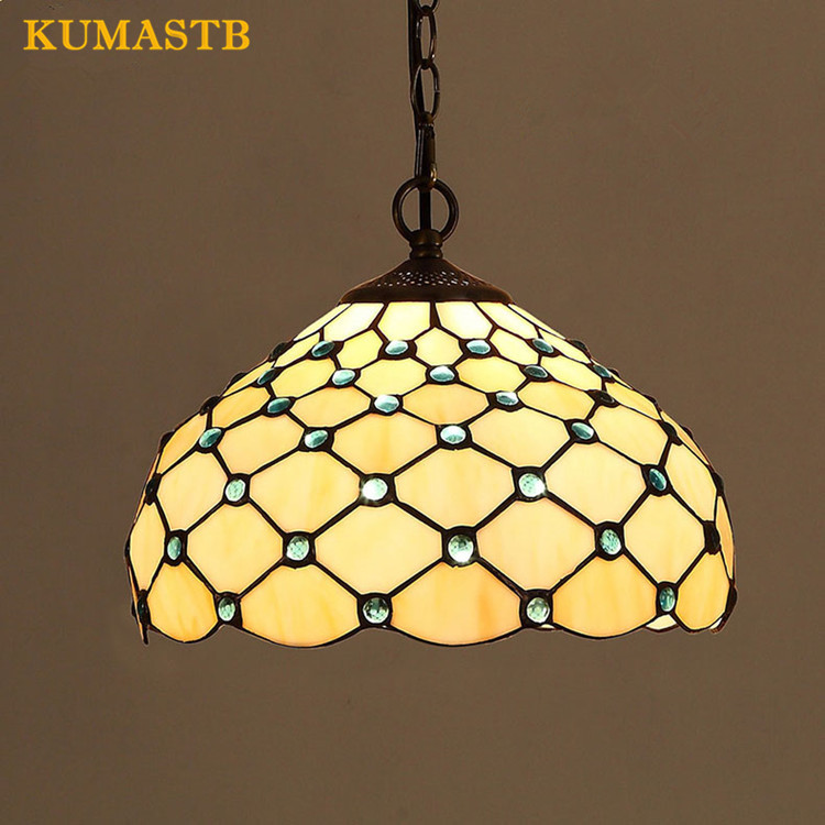 Us 91 8 32 Off 12 Inch Stained Gl Pendant Lamp Vintage Art Suspension Light Living Room Bar Fixture With Blue Clear Beads In