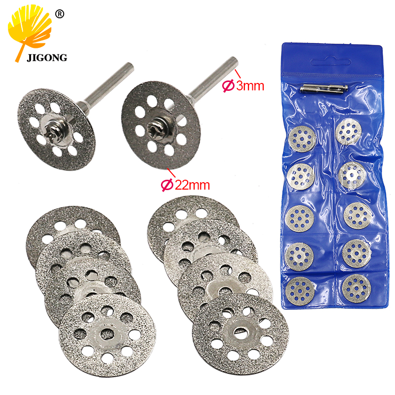 10pcs 22mm Carbon Steel Grinding Circular Saw Cutting Disc Dremel Rotary Tool Diamond Dremel Accessories W 2pcs Mandrel
