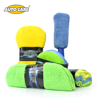 9 Piece Set Microfiber Car Cleaning Kit Include 3 Microfiber Towels 3 Applicator Pads Wash Sponge
