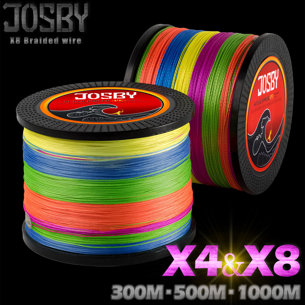 цена на JOSBY 300M 500M 1000M 4 Strands 8 Strands Multicolour PE Braided Wire Multifilament Fishing Line Fishing Carp Fishing Tackle