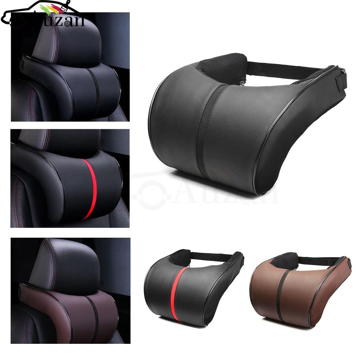 PU Leather Car Auto Seat Neck Pillow Memory Foam Head Neck ...
