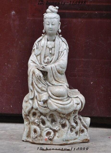 Crafts Statue Antiques China Temple Joss Old Porcelain Glaze Quan Yin Kwan Yin  Guanyin Statue