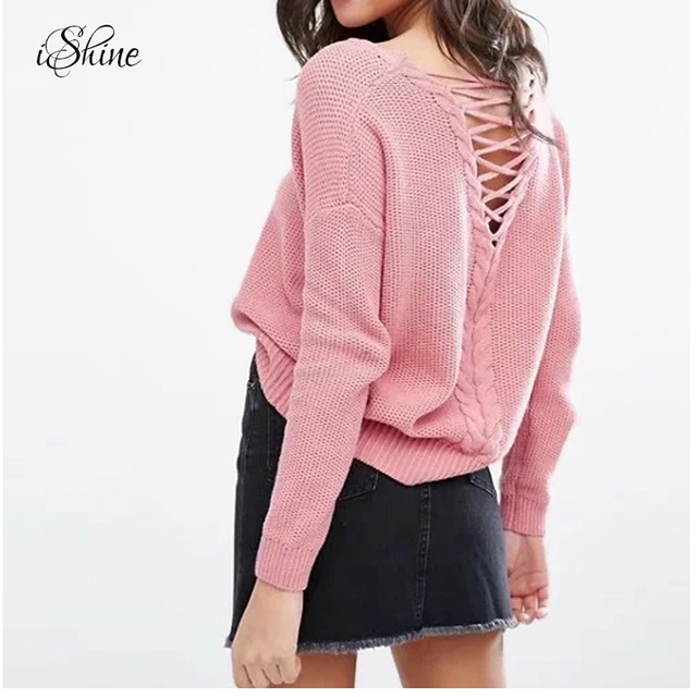 f569dcd013 Pullover Loose Women V-neck Sweater Jumper Long Sleeve Criss Cross Backless  Strappy Knitted Tops Sweaters Casual Winter Knitwear