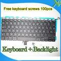 """Brand New SP Español teclado + Retroiluminación Retroiluminada + 100 unids tornillos del teclado Para MacBook Pro 13.3 """"A1278 2008-2012 Años"""